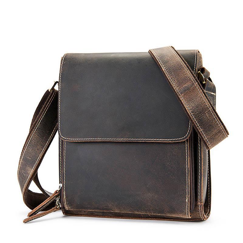 117bd5e542 Retro Genuine Leather Men Shoulder Bag Business Travel Men Messenger Bag  Vintage Flap Casual Male Crossbody 30% OFF 3027 Designer Crossbody Bags  Vintage ...