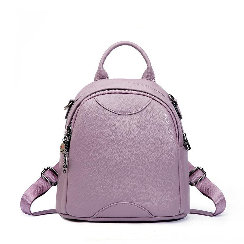 87f1ec8da79a 100% Real Leather Women Backpack Elegant Small Bagpack For Girls Cute Emoji Mini  Backpack Genuine Leather Women Shoulder Bag Backpack Purse Dog Backpack ...