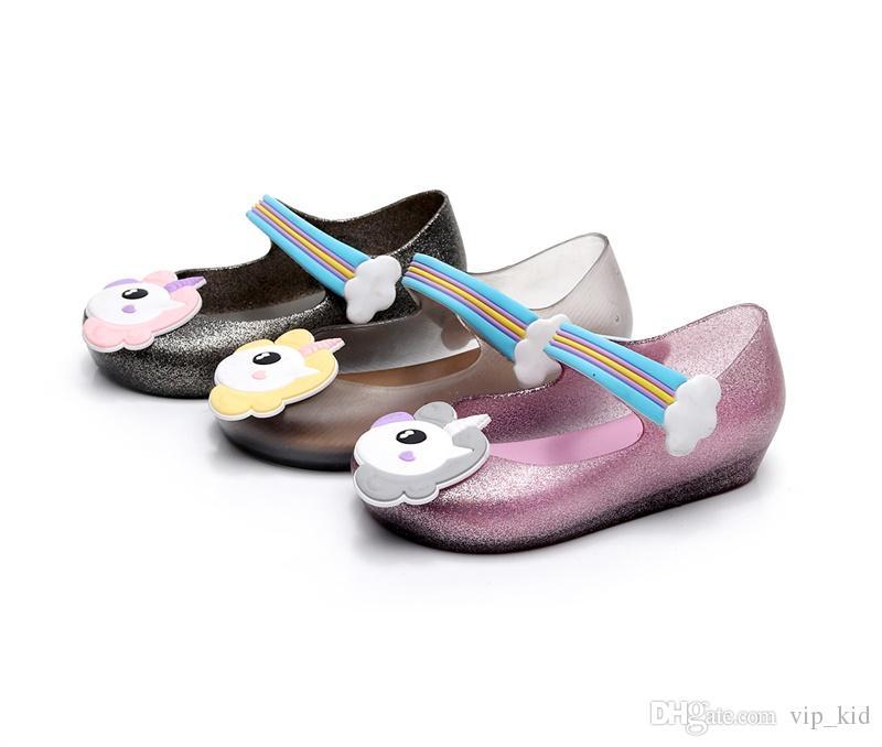 b40d89d255 3 style Kids shoes Unicorn mini sed jelly sandals for baby unicorn children  girls princess shoes cute cartoon transparent bling soft beach