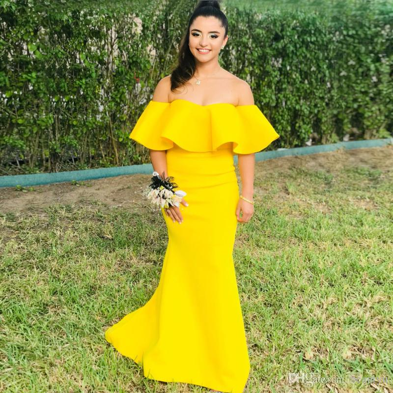 Gold Yellow Mermaid Prom Dresses Long 2018 New Boat Neck Off ... d6b0efcca46f