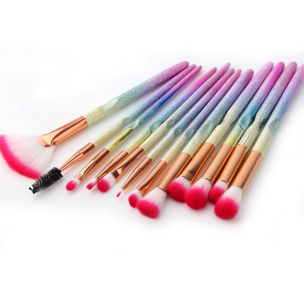 Makeup Brushes Sets Colorful Handle Eyebrow Blending Lipstick Blush Contour Powder 3D Rainbow Cosmetic Tool Kits