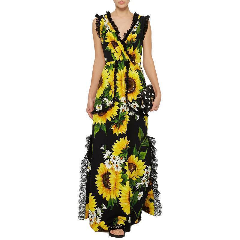 8d4cb840c4988 Sunflower Print Deep V Neck Lace Trim Womens Jumpersuit Romper