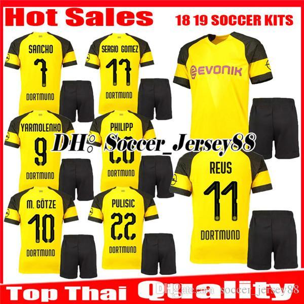 fc726a405 2019 New 2018 2019 REUS Soccer Jersey Kit SANCHO Home 18 19 BATSHUAYI  PHILIPP INTERNATIONAL AUBAMEYANG YARMOLENKO Kits Uniforms Football Shirts  From ...