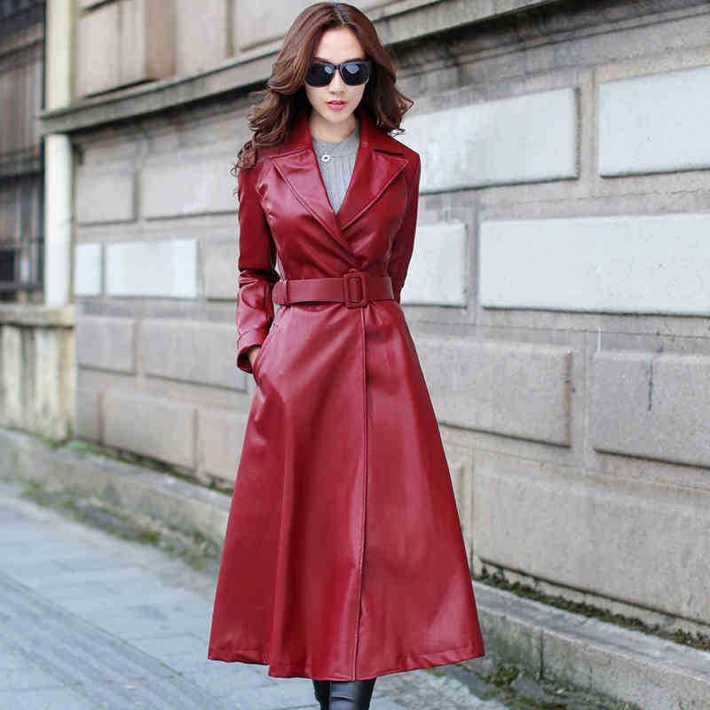 c1b4faae151 2019 Women Black Red Warm Pu Leather Coat Autumn Winter Plus Size Fleece PU  Leather Long Trench Coat Windbreakers From Begonier