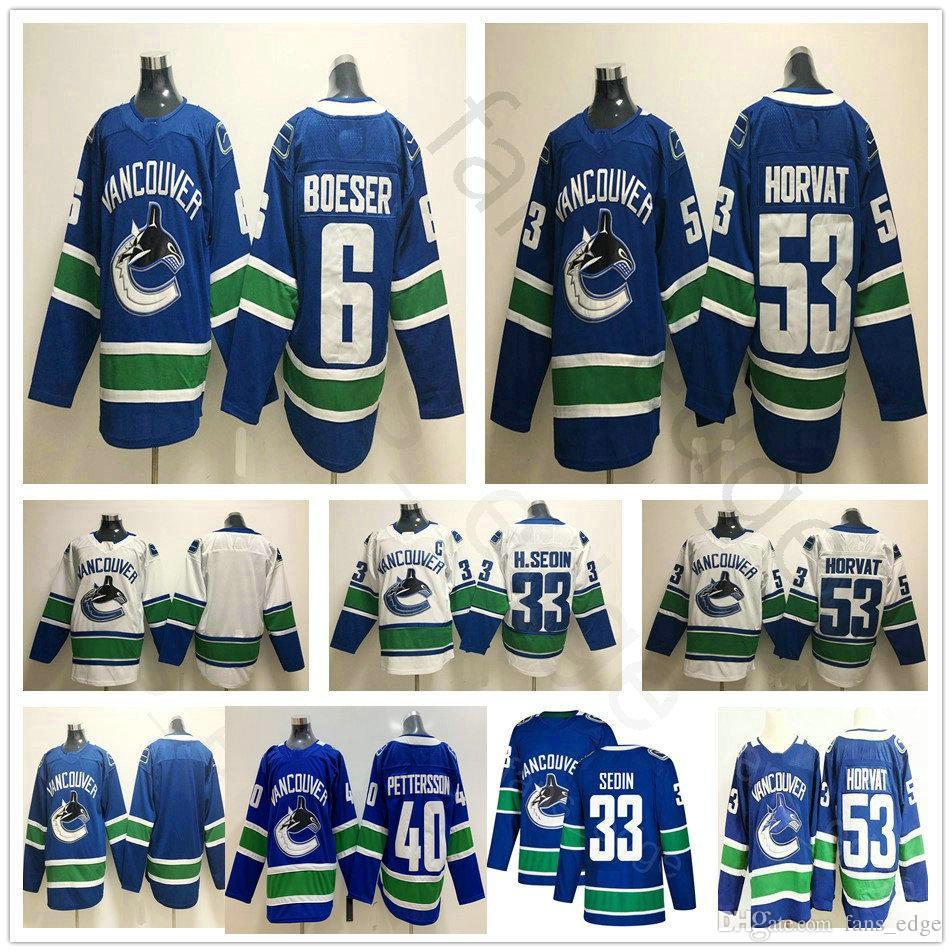 Vancouver Canucks Hokcey 6 Brock Boeser 53 Bo Horvat Jersey Blue ... 599136ff3
