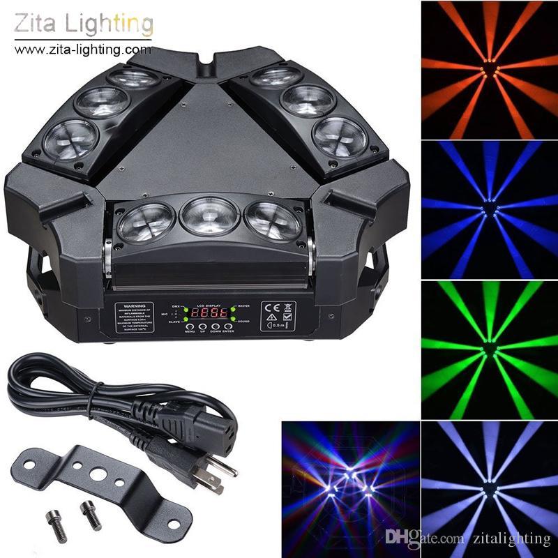 Zita Lighting 9 Eyes Spider light LED Moving Head Lights Rotating Triangle 9X12W RGBW Scanner Beam Stage DMX512 Disco DJ Christmas Effect