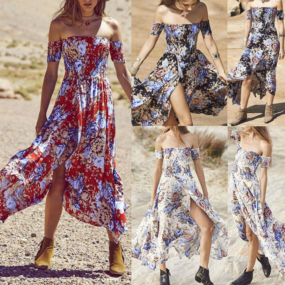 e5a3ff392bc59 2019 Bohemian Summer Sweet Women Dress Holiday Dress Off Shoulder Floral  Print High Waist Ankle-Length Long Dress