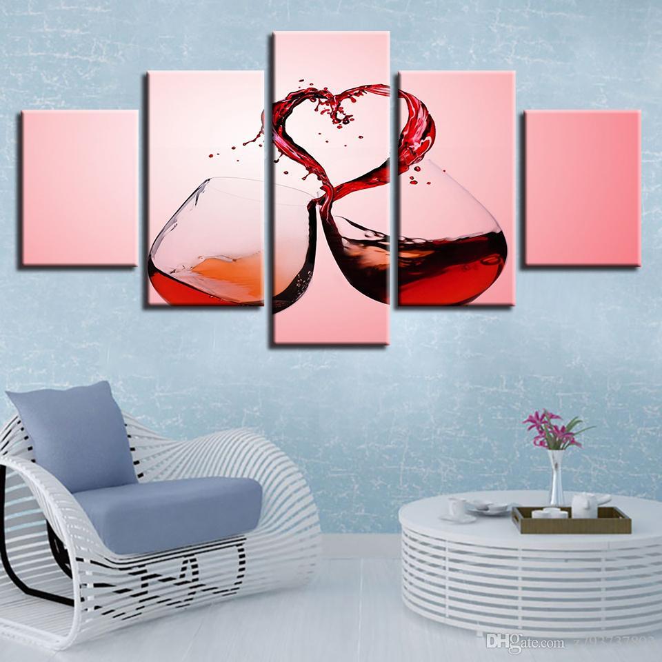Art Imprime Salon Moderne Hd Toile Photo Mur Affiche 5 Pieces Rouge Vin Coeur Lunettes Clink Lunettes Peinture Images Decor