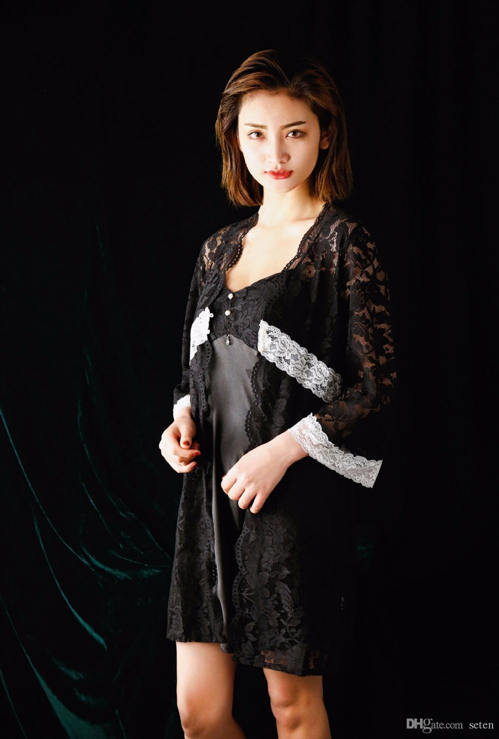 4d6a7857f95 Sexy Dressing Gowns for Women 2018 Spring Summer Robe Femme Lace Kimono  Nightie Sleepwear Gown Sets Bathrobes Night Dress Black Robe   Gown Sets  Cheap Robe ...
