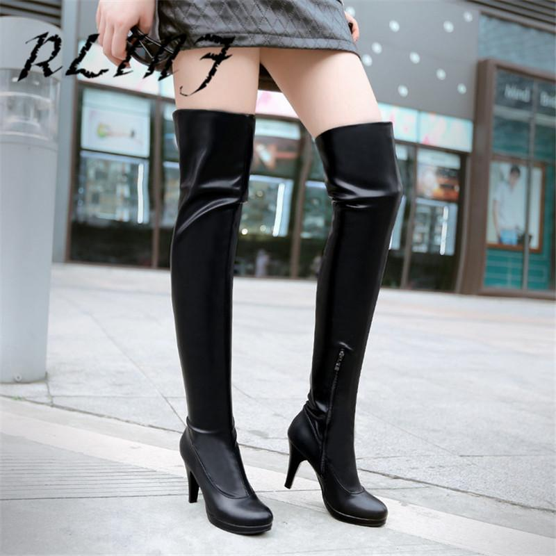 df60c057d43 RLINF Stovepipe Stretch Over Knee Boots Super High Heel Side Zipper  Stiletto Waterproof Platform Female Long Boots Mens Boots Thigh High Boots  From Showway