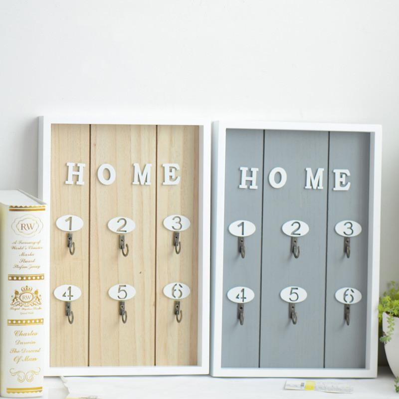 2018 Home Wall Decor Handmade Wooden Key Hook Cargo Storage Box ...