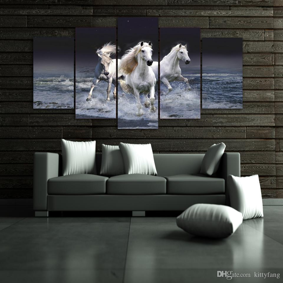 Framed HD Printed Animal White Horse Wall Art Canvas Print Poster Canvas Pictures Abstract Oil Painting
