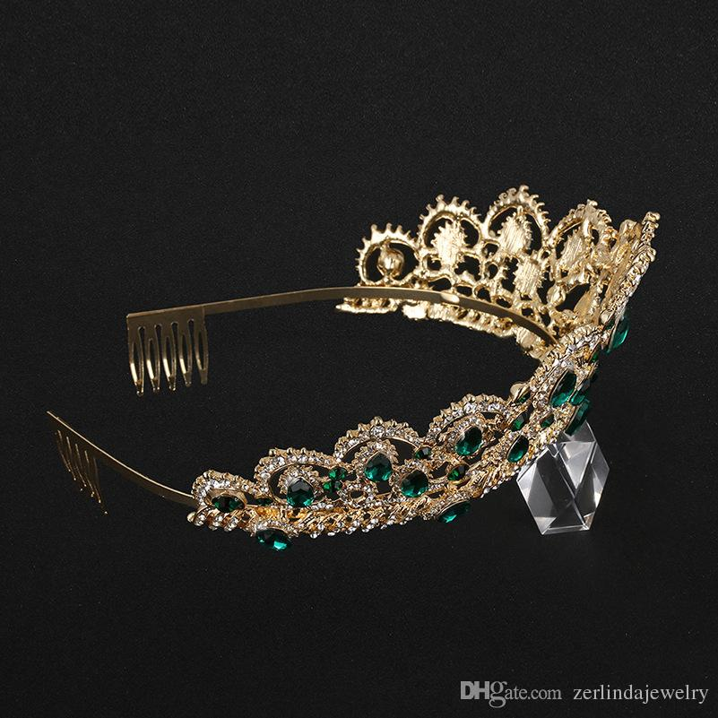 2018 Promotion Special Gold Plated Sapphire Blue Teardrop Crystal Rhinestone Bridal Crown Wedding Prom Hair Comb Tiara Hair Jewelry