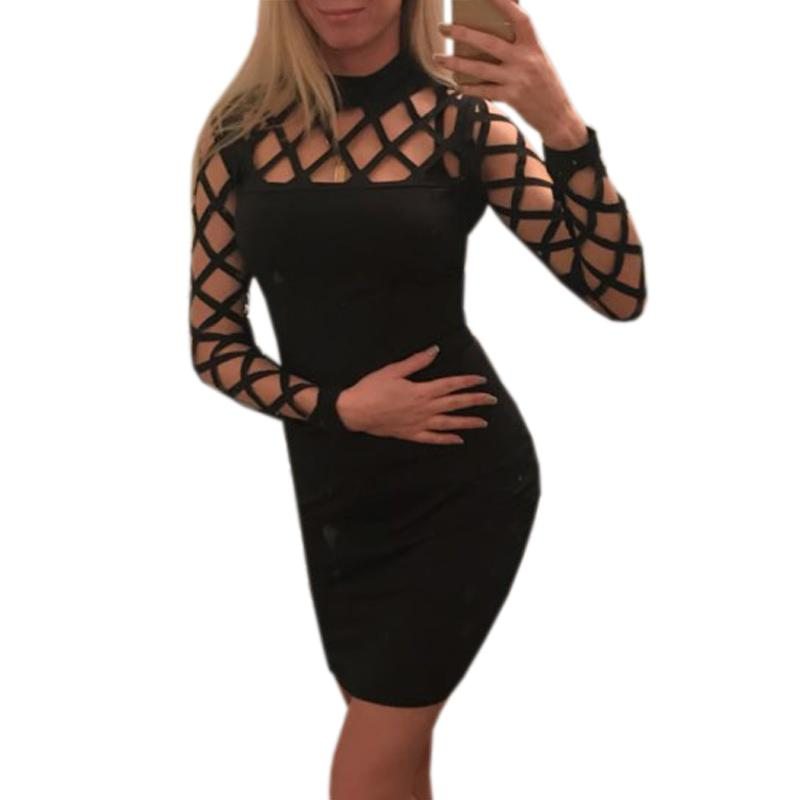 6906c2d714 Explosion Hollow Out Bodycon Women Dress 2019 Long Sleeve Nightclub Bandage  Party Dresses Sexy Plus Size Clubwear GV504B