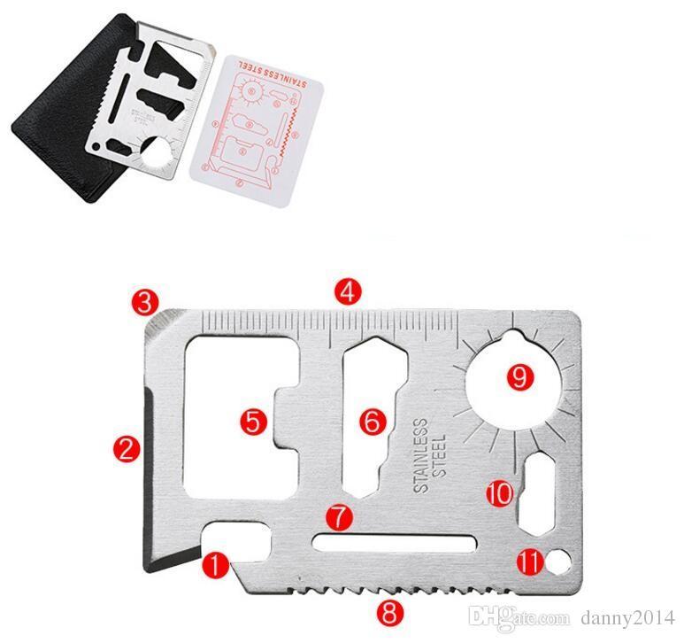 11 in 1 Multi Tools Caccia Camping escursionismo Sopravvivenza Pocket Knife Carta di credito Coltello in acciaio inox coltello da carta All'aperto Gear EDC utensili a mano