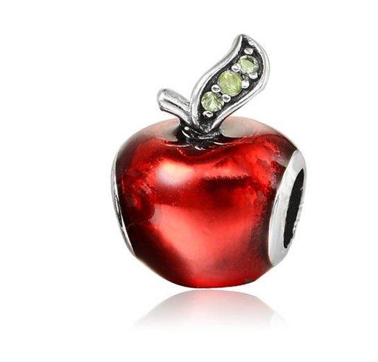 Toptan 30 adet Gümüş Charm Boncuk Kırmızı Yeşil Elma Avrupa Charms Boncuk Fit Pandora Yılan Zincir Bilezik Necklac Moda DIY Takı Xmas