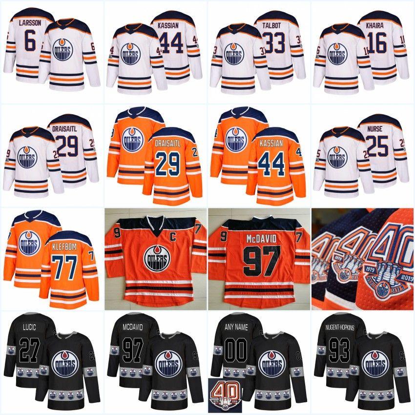 on sale 7329a 3ea9f 40th Anniversary Edmonton Oilers 33 Cam Talbot 97 McDavid 27 Milan Lucic 29  Leon Draisaitl 25 Darnell Nurse 44 Zack Kassian Jersey