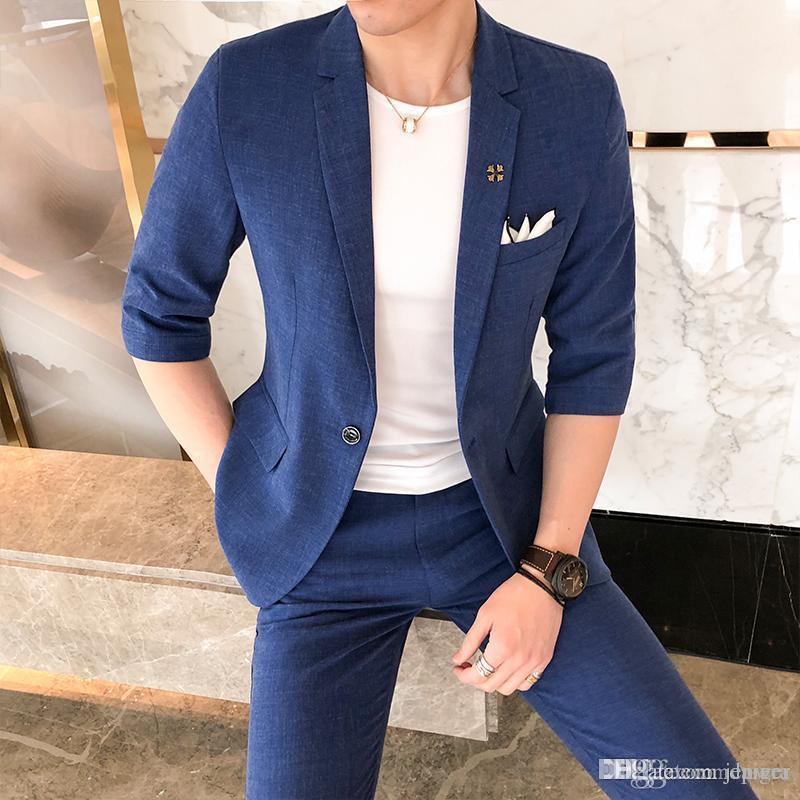 Compre Hombres A Estrenar Traje Moda 2018 Verano Slim Fit Trajes De Vestir  De Negocios Media Manga Sólido Casual Boda Blazer Set Chaqueta + Pant 3XL A  ... 3d4586bbfc6