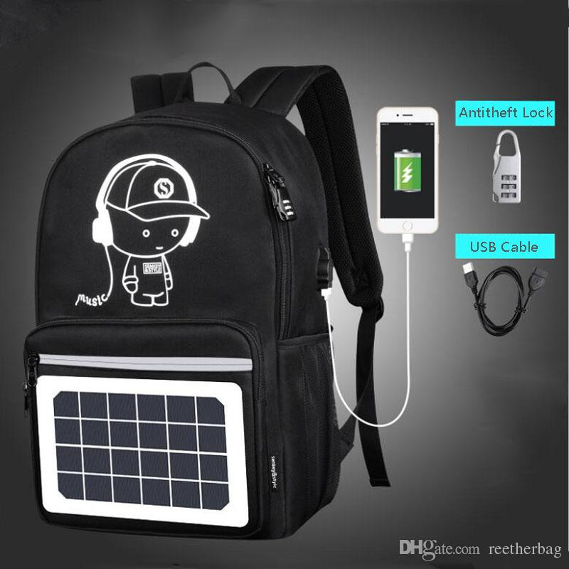 35b781420cf1 2018 Solar Powered Laptop Backpack USB Charging Port College School Bookbag  Mochila Travel Backpack For Men And Women Daypack Swissgear Backpack From  ...