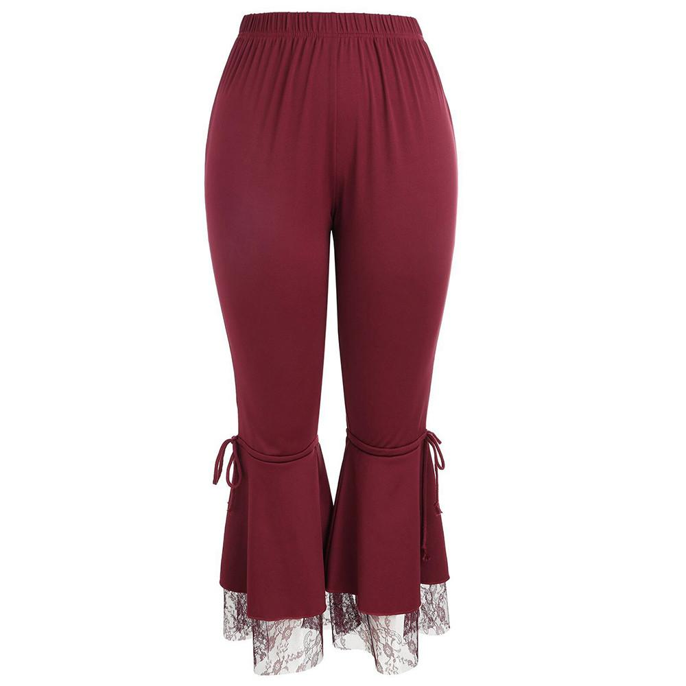 fce37b5d74aa5 Pure Color Loose Wide Leg Pants Women High Waist Flared Pants Sexy ...