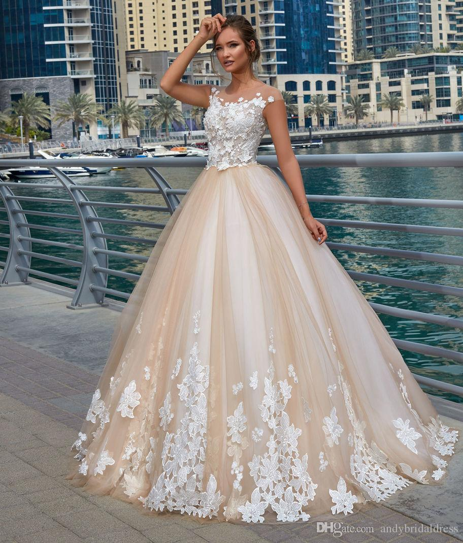 Champagne Lace Wedding Gown: 2018 New Cap Sleeves Champagne Wedding Dress Ball Gown