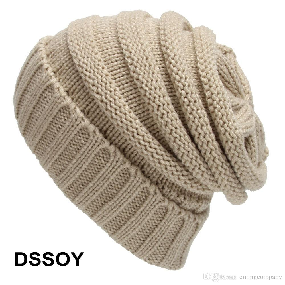 Fashion Acrylic Cable Beanie Hat For Adults Mens Womens Winter Head ... 74c228a9b0a5