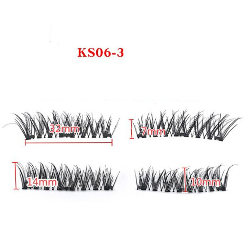 Three Magnetic Eyelash with black box Full Length Strip Lashes Magnet Natural Beauty No Glue Reusable Hand Made False Eyelashes
