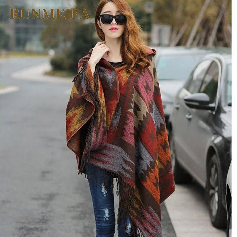 RUNMEIFA Women Winter Bohemian Hooded Coat Cape Wrap Poncho Shawl Scarf cotton and acrylic Tribal Fringe New Hoodie Dropshipping Y18102010