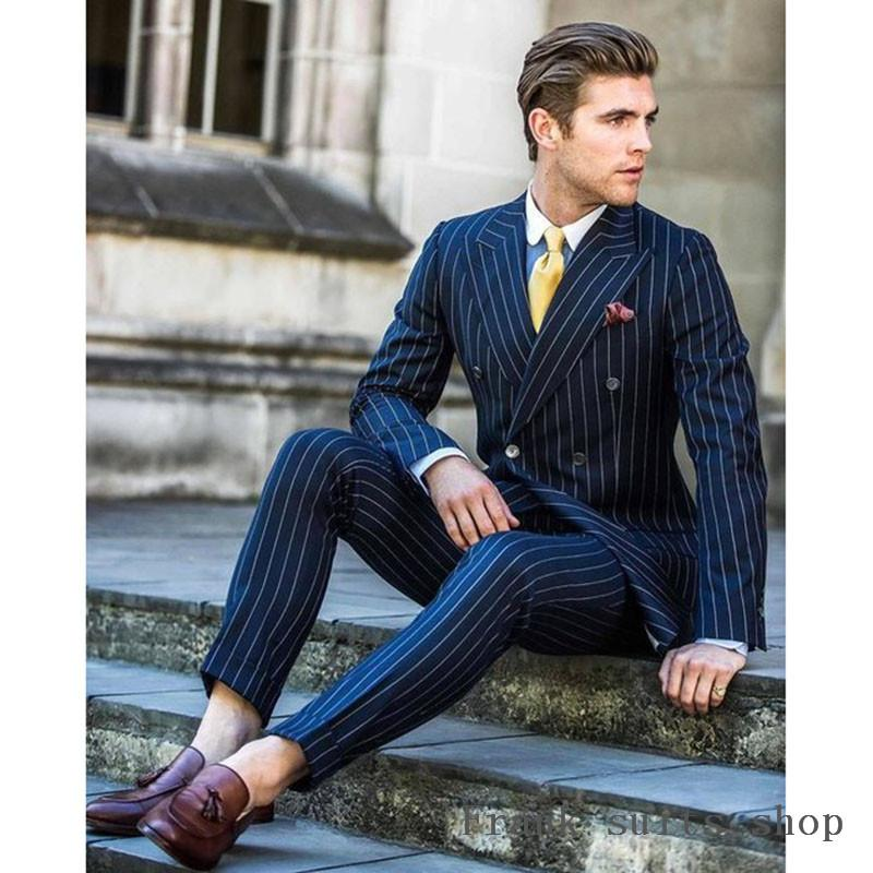 f093e6b9f1f 2019 2018 Men Suit Double Breasted Suits Navy Striped Tuxedo Wedding Suits  For Men Slim Fit Tuxedos Jacket+Pants From Hongxigua