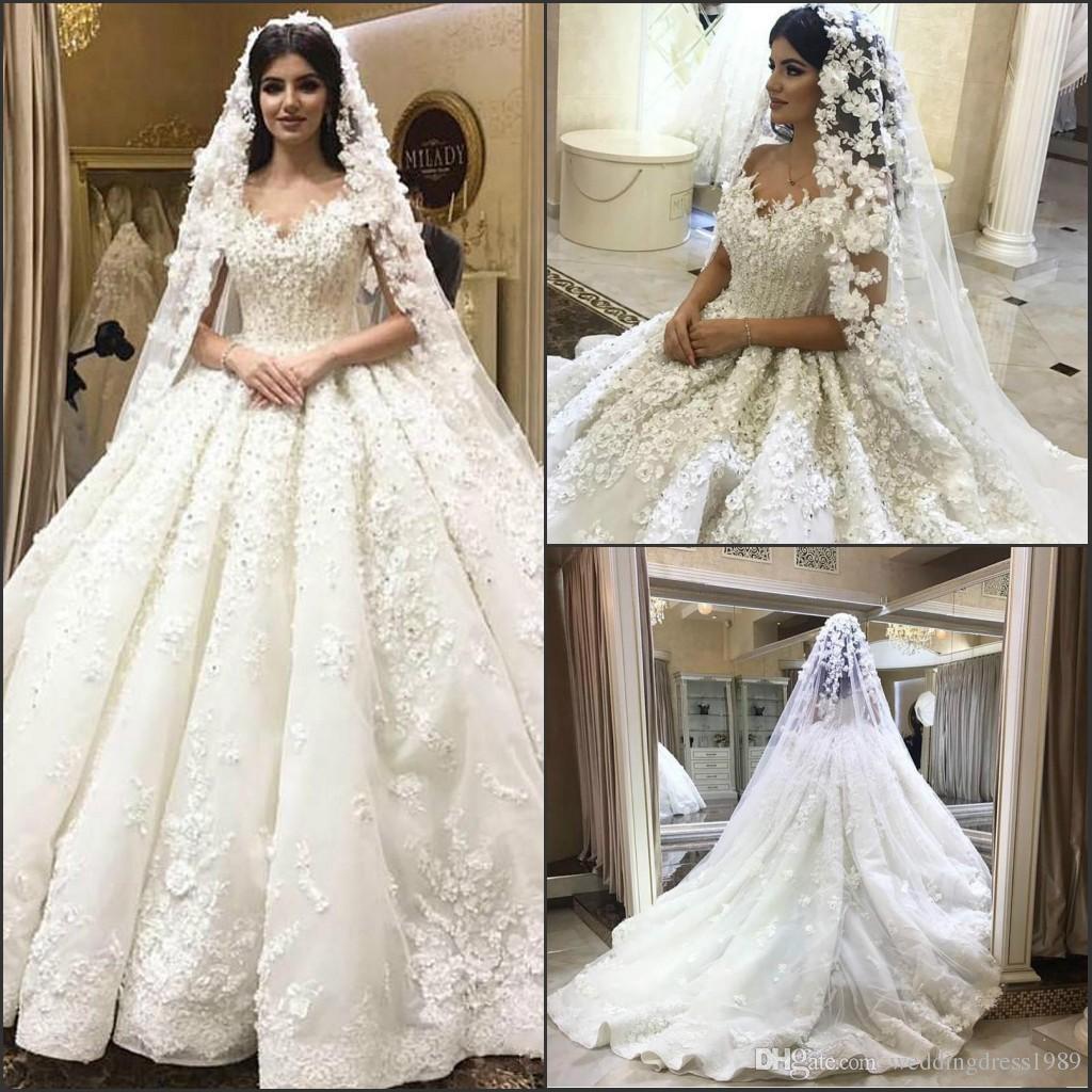 3779eedef406db Discount Luxury Lace Beads Floral Arabic Wedding Dresses Crystal Off  Shoulder Arabia Bride Plus Size Saudi Dubai African Bridal Gowns Ball  Custom Classic A ...