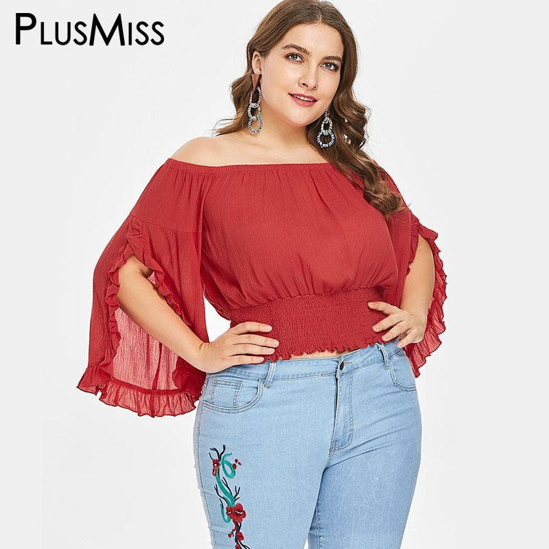 faf1ab6732f73 2019 PlusMiss Plus Size 5XL XXXXL XXXL Vintage Bell Flare Sleeve Tunic Tops  Women Sexy Off The Shoulder Loose Chiffon Blouse Big Size From Redbud01