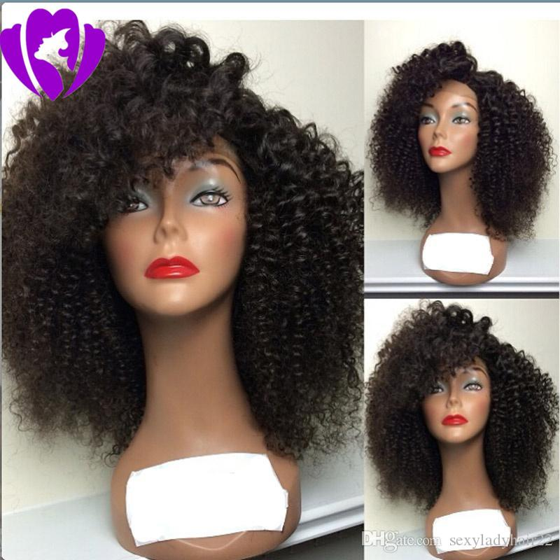 Fast shipping Afro Short Curly Wigs for Black Women American Natura Fulll black/brown/blonde color Hair Synthetic lace front Wig