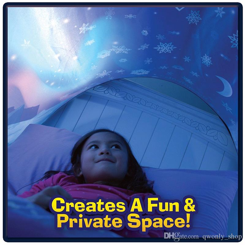 Çocuk Bebek Rüya Çadır Çocuk Fantezi Katlanabilir Unicorn Ay Beyaz Bulutlar Kozmik Uzay Kar Çadır Fantezi Uyku Prop Gece Işığı Olmadan