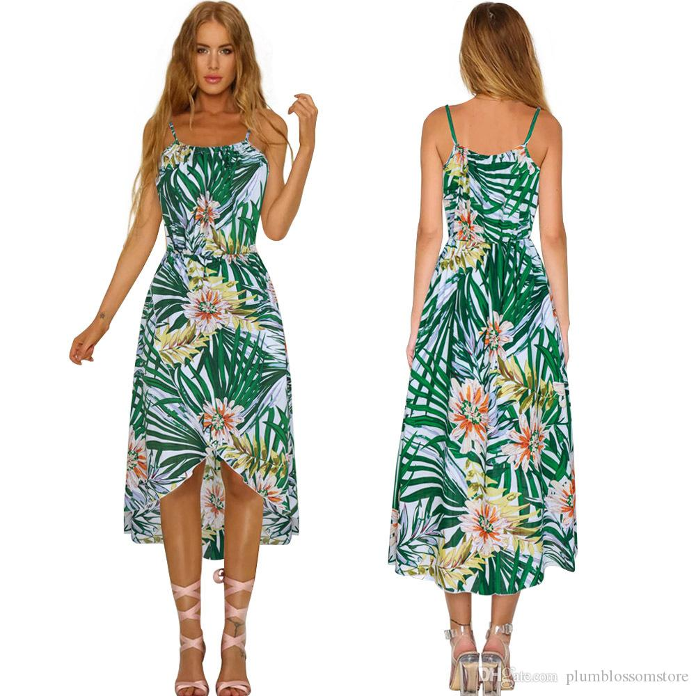 544e8aabd927 Bohemian Beach Dress Women New Chic Tropical Green Leaf Printed Spaghetti  Strap Irregular Hi Lo Split Boho Holiday Seaside Summer Dresses Long And  Short ...