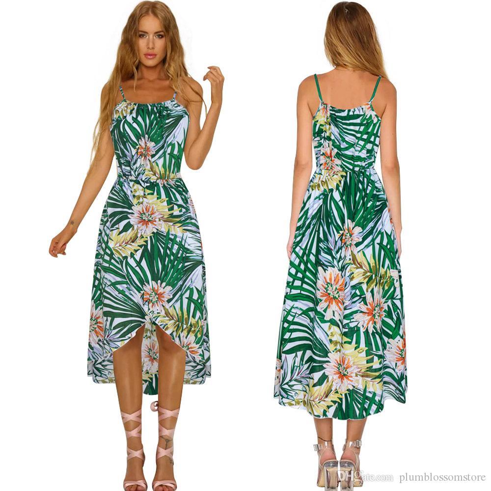 f117c0ad3e Compre Vestido De Playa Bohemia Mujer New Chic Tropical Hoja Verde Impreso  Correa De Espagueti Irregular Hi Lo Split Boho Vacaciones Verano Verano  Vestidos ...
