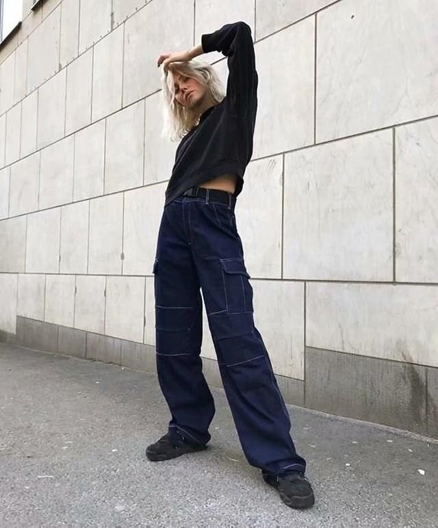 6e55e815b11 2019 Women Fashion High Waist Jeans Female Dark Wash Loose Trousers Jeans  Capris Patchwork Rock Jeans Streetwear From Youerclothing