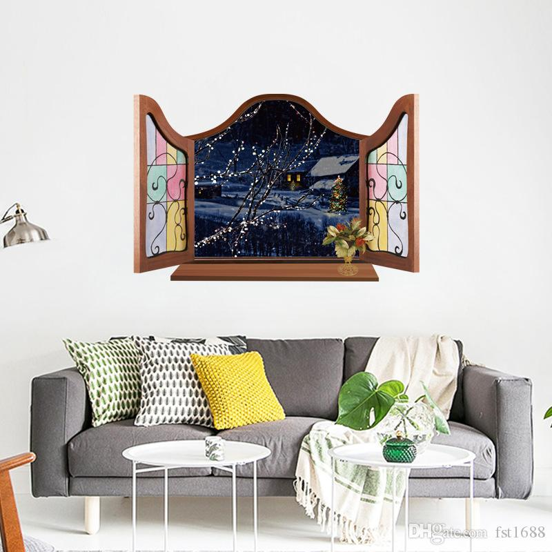 mj8017 3d european fake window wall sticker for rooms bedroom living
