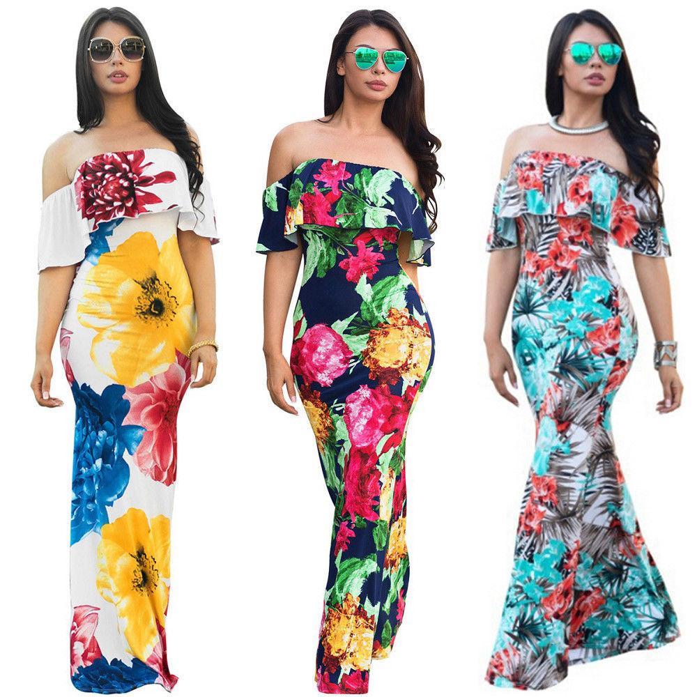 0f1afa53c264a Women Dress Off Shoulder Boho Long Maxi Dresses Summer Evening Party Slim  Sundress Floral Sexy Wmen Vestidos Halter Dresses Dress Shopping From  Qinfeng08