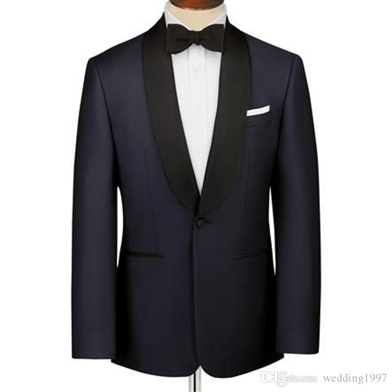 Navy Wedding Men Suits Black Shawl Lapel Straight Style Wedding Groom Tuxedos 2018 Two Piece Groomsmen Party Suit 2018