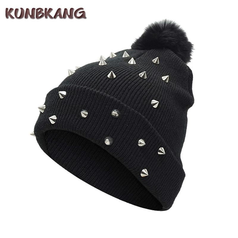 c3e769da8977 Women Girls Rivet Winter Pompom Beanies Hip Hop Punk Ball Knitted Hat Warm  Bonnet Street Spikes Winter Wool Skullies Female Cap S1020 Winter Hats  Beanie ...