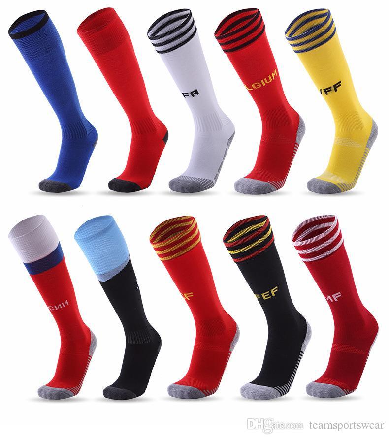 Men National Team Soccer Socks World Cup 2018 Adult Non-slip Football Sock Long Knee Exercise Training Stockings Towel Bottom Breathable