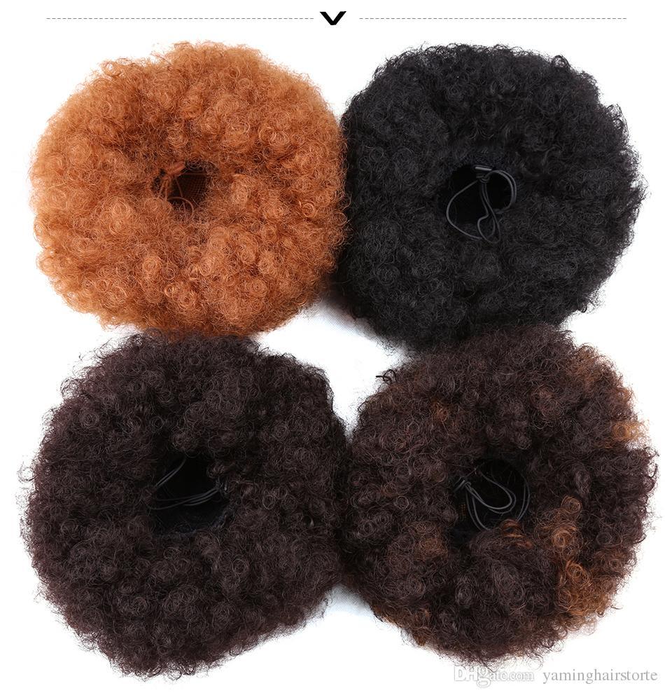 2 개의 플라스틱 빗을 가진 8inch 곱슬 머리 합성 Chignon 짧은 결혼식 머리 형 updo 덮개 합성 머리