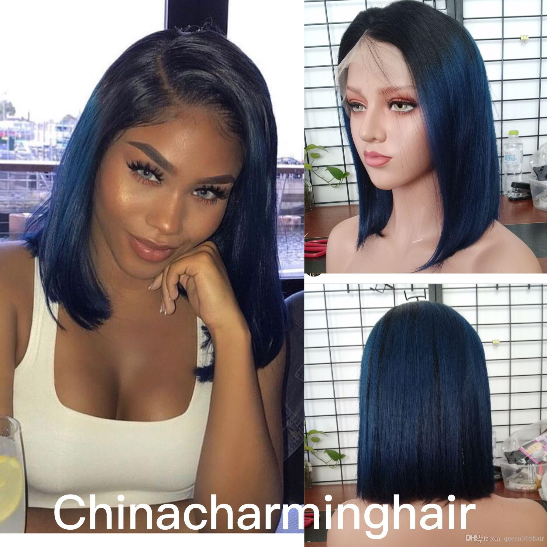 Ombre Two Tone T1B/blue Lace Front Human Hair Bob Wigs silky straight Brazilian Virgin Hair 130 Density Lace Front Wig