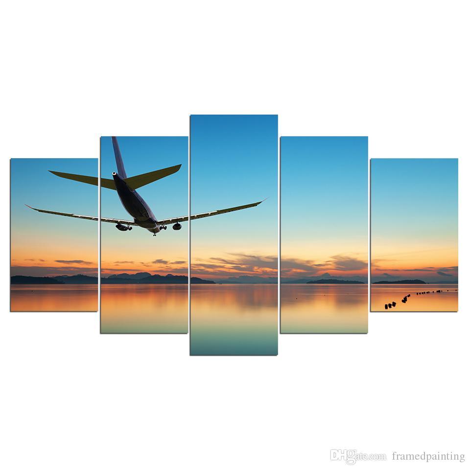 5 Pièce Coucher Du Soleil Avion Affiche Mur Art Photos pour Salon Décor À La Maison HD Imprimé Toile Peinture