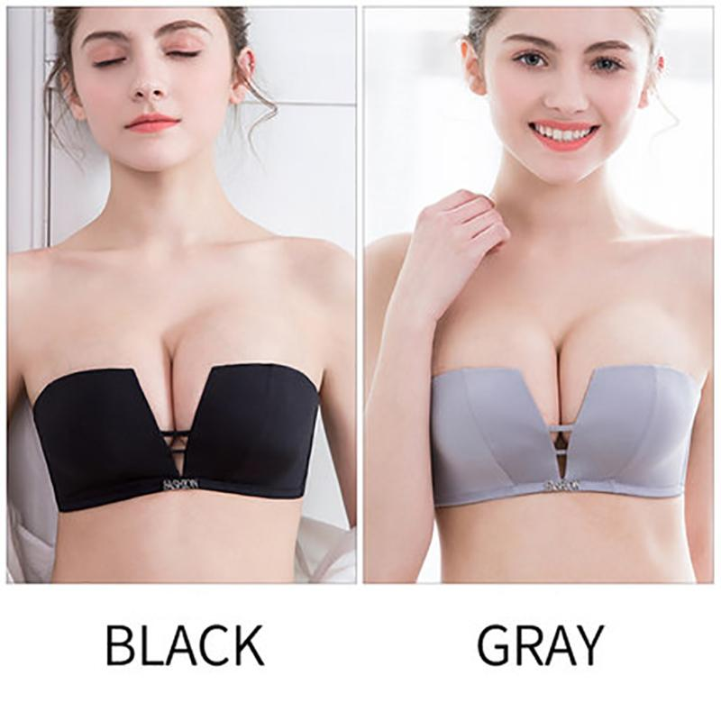 ab5c2715acea5 Sexy Push Up Bras For Women Seamless Square Cup Bra Bralette Deep V  Brassier Invisible Strapless Wire Free Underwear  D UK 2019 From  Tengdingskirt