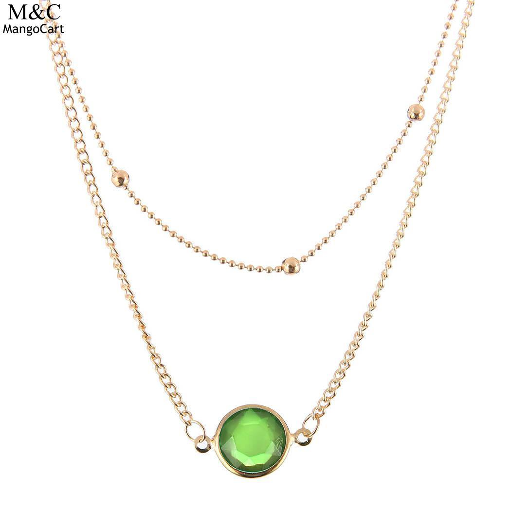2018 Fashion Women Necklace Pendant Women Fashion Crystal Artificial Charm Jewelry Chain Necklace