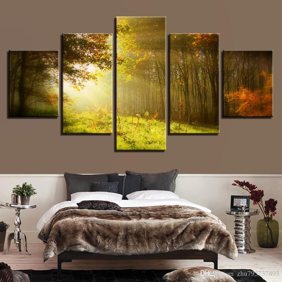2018 Modular Canvas Painting Sunshine Forest Natural Scenery ...