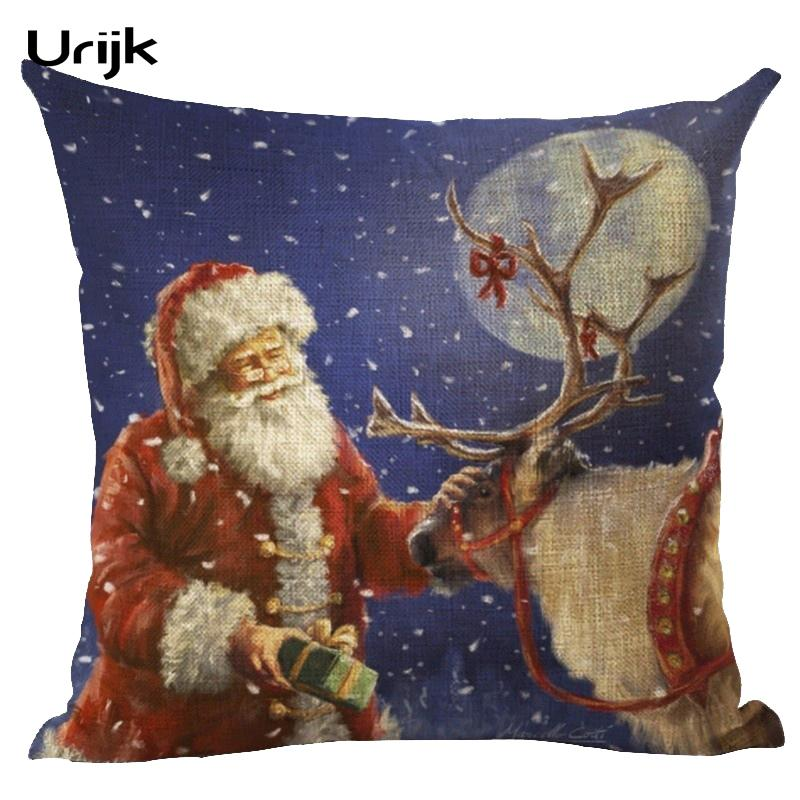 Urijk 2018 New Cotton Linen Christmas Printed Pillowcase cover Home bed Seat Pillow Cover 45*45cm Soft Bedroom Cushion Snowman Pillow Case