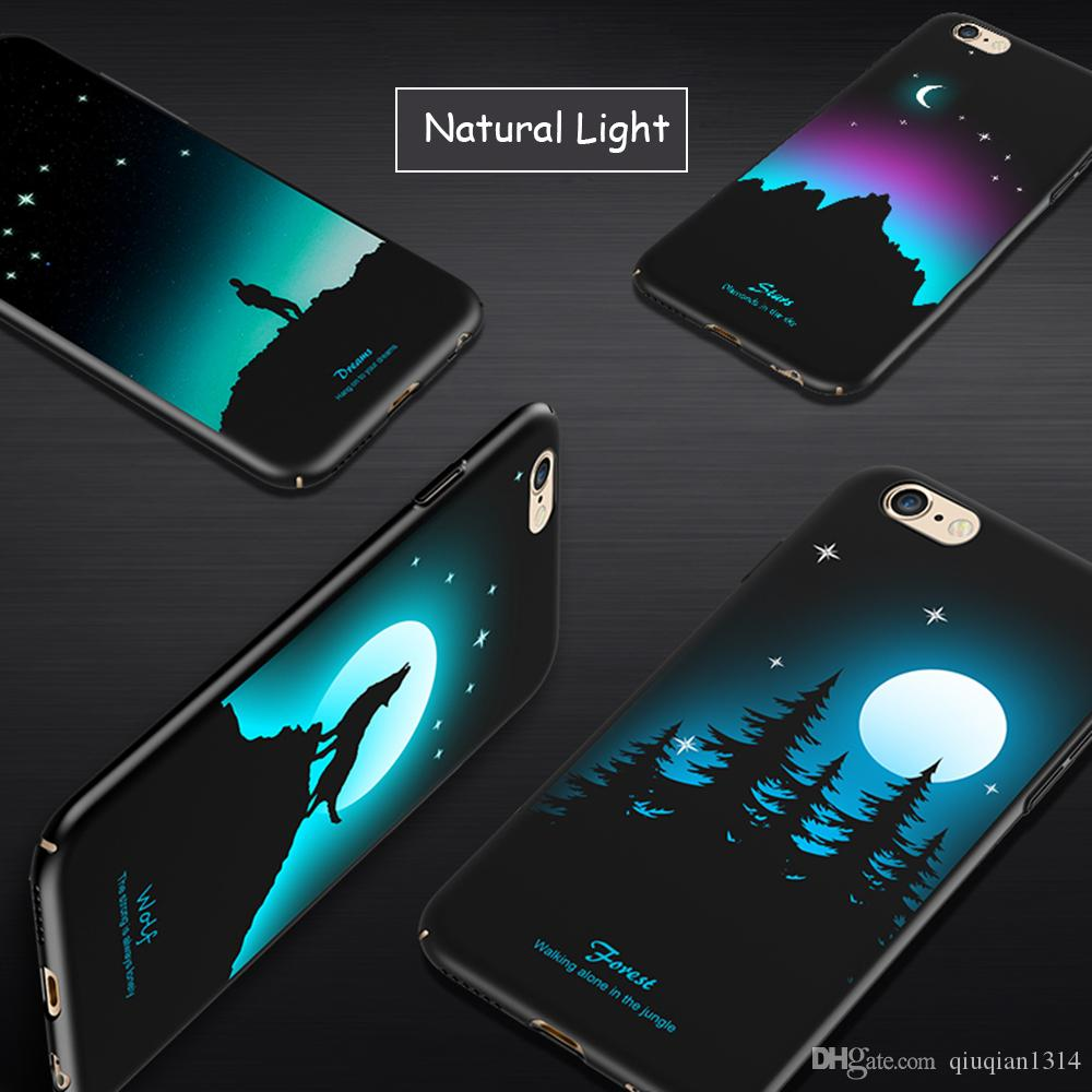 Luminous Cover Case for iPhone 8 Plus Glow in the Dark Relief Painting Fluorescent Color Changing Hard PC Case Slim Protective Back Shell