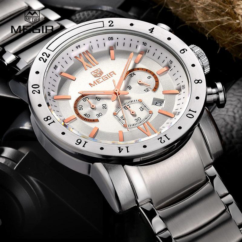 8fe996cde948 Compre MEGIR Marca Caliente Relojes De Cuarzo Para Hombre De Negocios  Blanco Reloj De Pulsera De Moda Tres Ojos Impermeable Reloj Luminoso Para  Hombre S921 ...